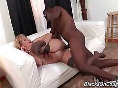 Aged blonde gets her craving love hole licked by horny black guy.