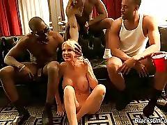 Pretty mature white whore gets all covered in black men spunk.
