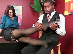 Black guy has to please awesome lady boss Charlee Chase to get the job.