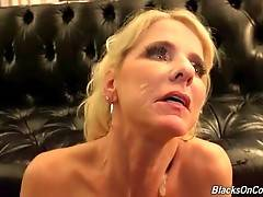 Nasty mature blonde enjoys the taste of black men cum.