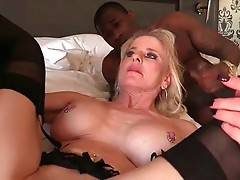 Three Black Studs Share Older White Lady 3