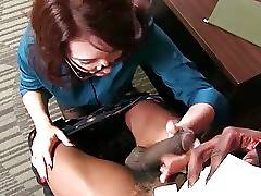 Redhead white lady kneels down and ready tastes fellow`s big brown dong.