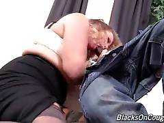Curvaceous slutty mommy hungrily works her mouth at big black cock.