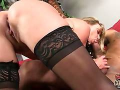 Big titted blond lady is fond of great hard fucking.