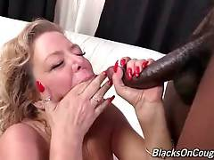 Karen Summer catches black dude`s cumshot and enjoys the taste of his semen.